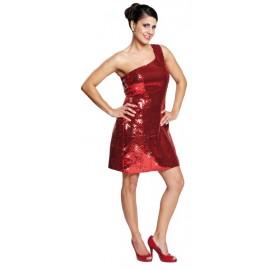 Déguisement disco rouge à paillettes femme