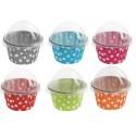 Boîte à dragées Cupcake à pois les 6 - 6 coloris au choix
