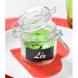 Pot à dragées hermétique avec ardoise les 24 - H 7.6 cm