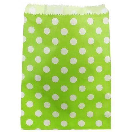 Sachets papier vert anis à pois blancs 18 cm les 24