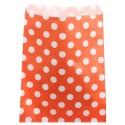 Sachets papier orange à pois blancs 18 cm les 24