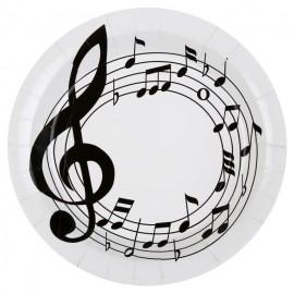 Assiettes notes de musique carton blanc 22.5 cm les 10