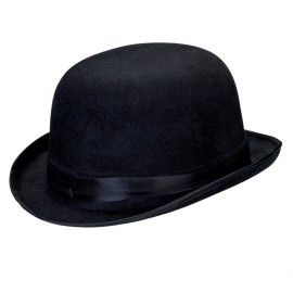 Chapeau melon noir velours adulte