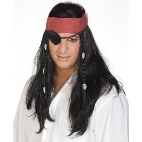 Perruque pirate avec bandeau rouge homme