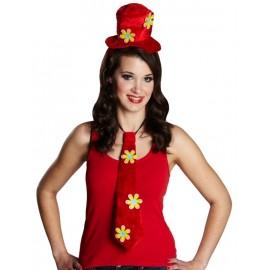 Mini chapeau hippie rouge avec cravate hippie femme