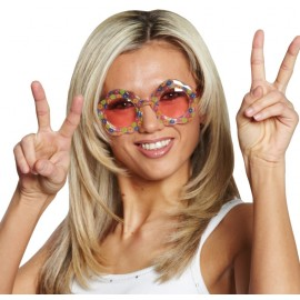 Lunettes Flower Power hippie adulte