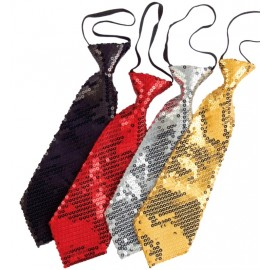 Cravate à paillettes noire adulte
