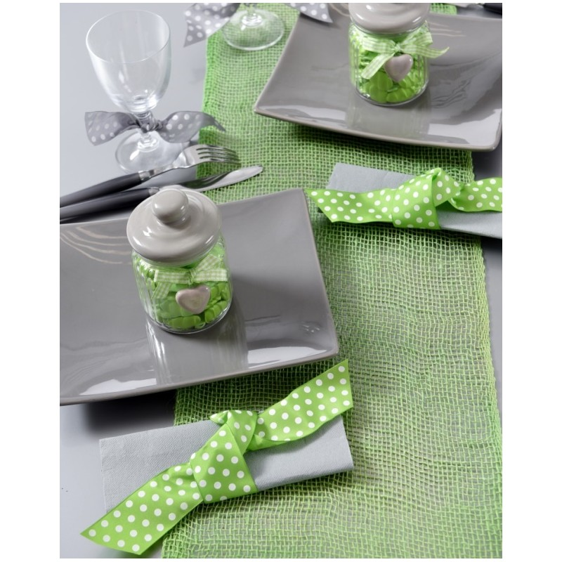 Chemin de table toile de jute vert 5 m for Chemin de table plastique