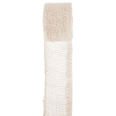 Ruban toile de jute blanc 7 cm x 5 M