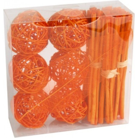 Boules rotin orange Fagots orange feuille orange