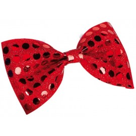 Noeud papillon à paillettes rouge adulte 11 x 6 cm