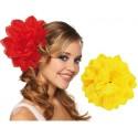 Pince à cheveux fleur jaune (double fleurs) 20 cm