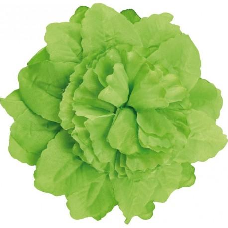 Pince à cheveux fleur vert anis (double fleurs) 20 cm