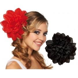 Pince à cheveux fleur noire (double fleurs) 20 cm