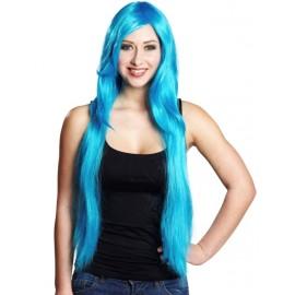 Perruque longue bleu turquoise femme