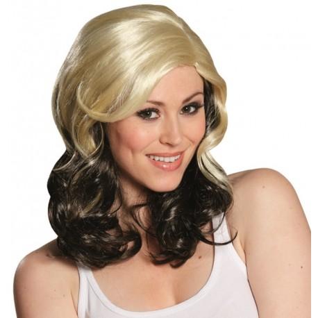 Perruque blonde et brune mi-longue femme