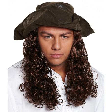Chapeau pirate avec cheveux homme