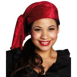 Bandana pirate velours rouge adulte