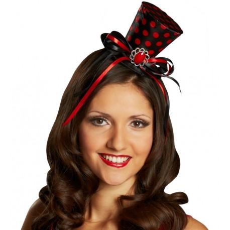 Mini chapeau haut de forme noir à pois rouges femme