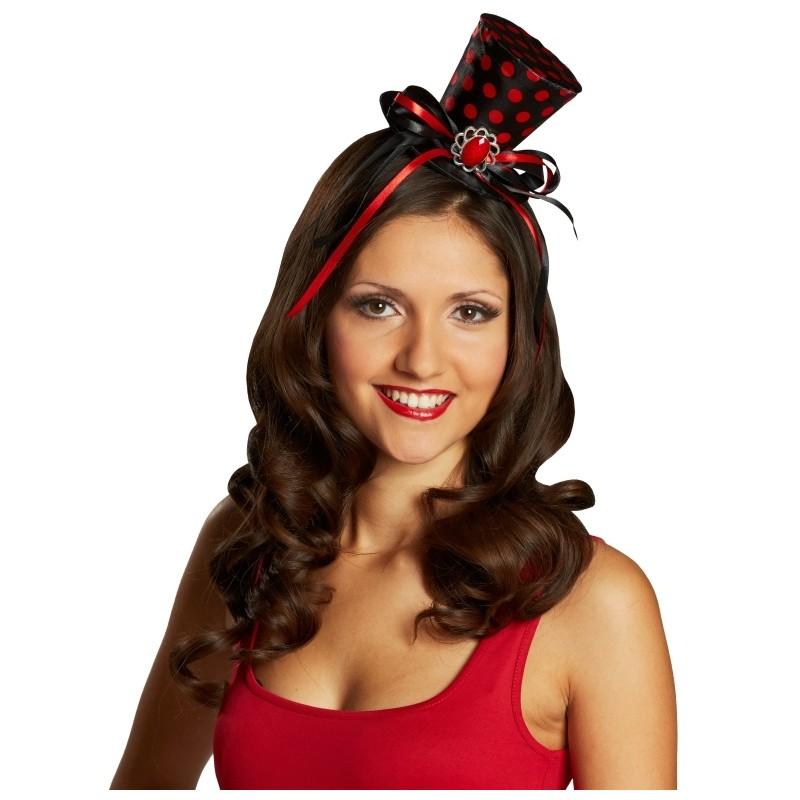 mini chapeau haut de forme noir pois rouges femme. Black Bedroom Furniture Sets. Home Design Ideas