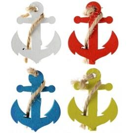 Ancre de bateau sur pince déco les 4 - Coloris au choix