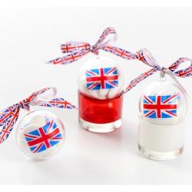 Boule plexi transparent drapeau anglais Union Jack 5 cm les 4