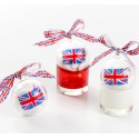 Boules plexi transparent drapeau anglais Union Jack 5 cm les 4