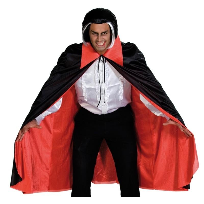Cape Dracula satin noir et col intérieur rouge halloween deguisement vampire