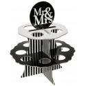Présentoir Mr & Mrs boules à dragées 5 cm blanc noir