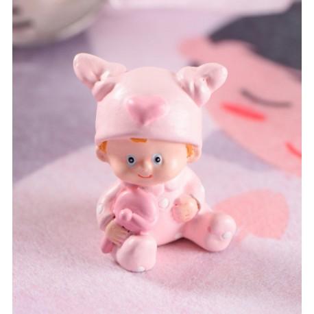 Figurine baptême bébé fille rose 4 cm les 10