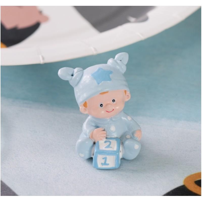 Figurine bapt me b b gar on bleu ciel 4 cm les 20 - Deco pour bapteme garcon ...