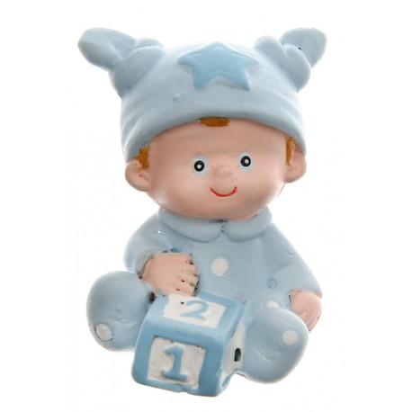 Figurine baptême bébé garçon bleu ciel 4 cm les 10