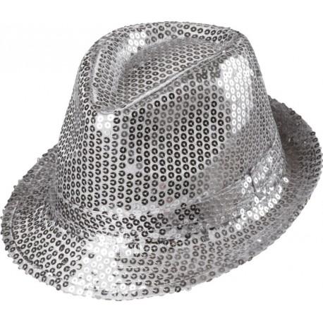 Chapeau borsalino sequin argent adulte