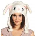 Bonnet peluche lapin blanc adulte