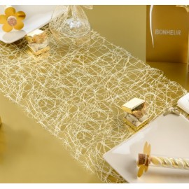 Chemin de table sisal ivoire fils or
