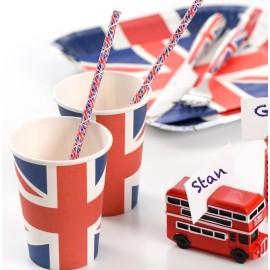 Pailles drapeau anglais Union Jack en papier les 20