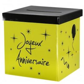 Tirelire joyeux anniversaire vert anis carton 20 cm