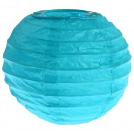Lanternes boule chinoise papier turquoise 10 cm les 2