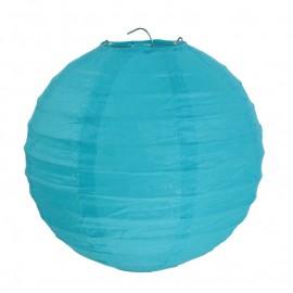 Lanterne boule chinoise papier turquoise 20 cm les 2