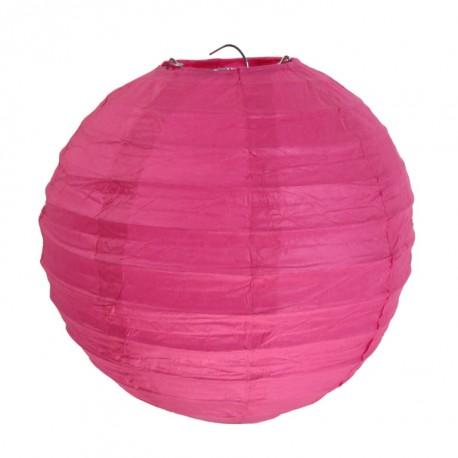 Lanterne boule chinoise papier fuchsia 20 cm les 2