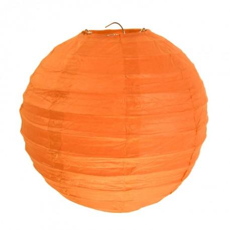 Lanterne boule chinoise papier orange 20 cm les 2