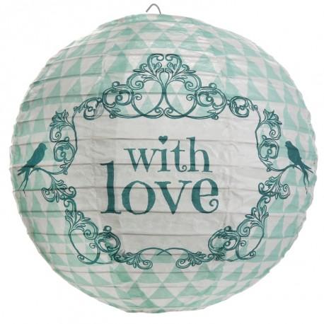 Lanterne boule papier vintage with love menthe 20 cm les 2
