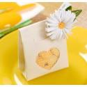 Sachets à dragées coeur coton naturel les 4
