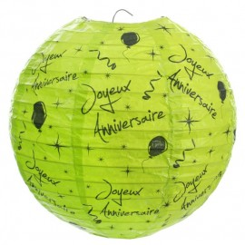 Lanternes boule papier joyeux anniversaire vert 20 cm les 2