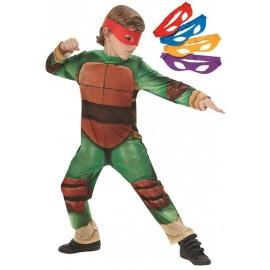 Déguisement Tortues Ninja garçon TMNT avec 4 masques