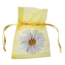 Sachet à dragées marguerite organdi jaune 17 cm les 4