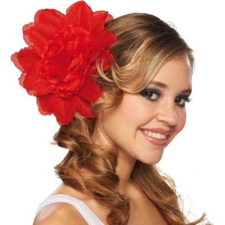 Pince à cheveux fleur rouge (double fleurs) 20 cm