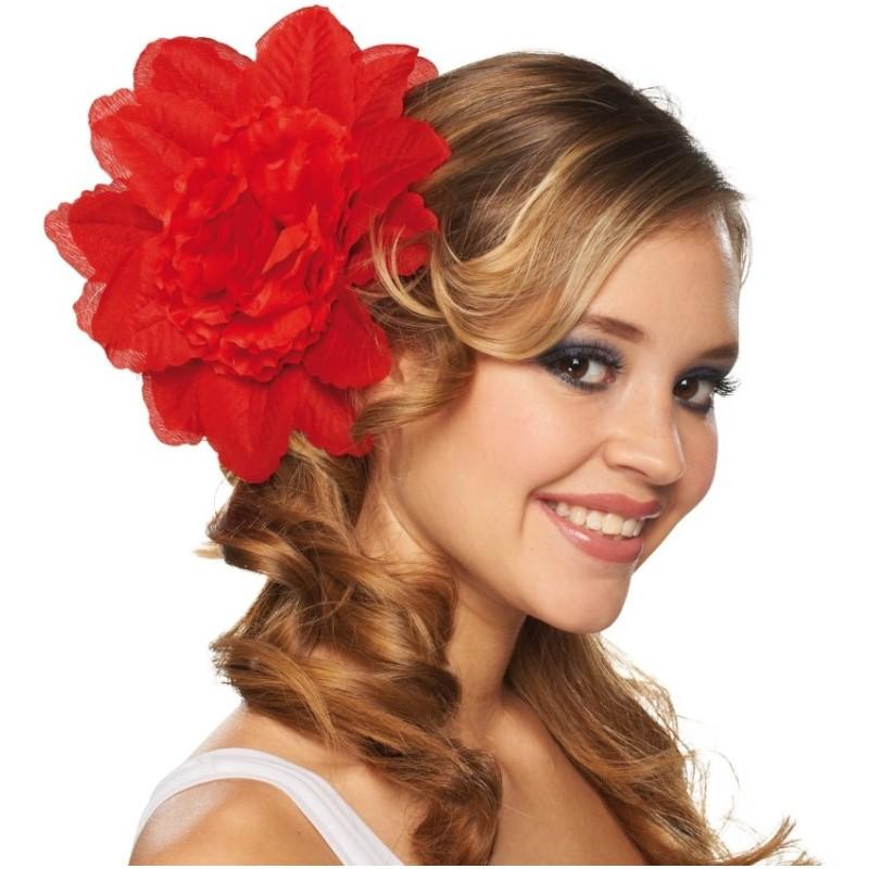 Pince A Cheveux Fleur Rouge Double Fleurs 20 Cm