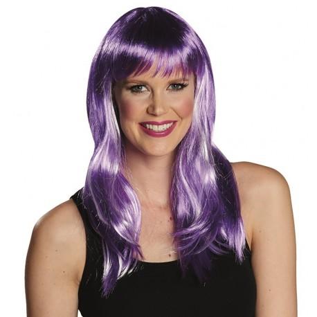 Perruque mi-longue violette femme