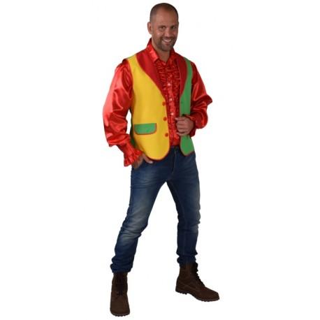 Déguisement gilet rouge jaune vert homme luxe